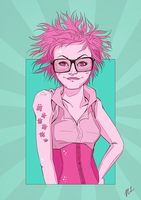 Girl with glasses by nicolabuckleyart