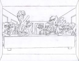 Twilight Sparkle's Last Supper (sketch) by The1King