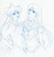 Sailor Venus and Sailor Mars by starxade