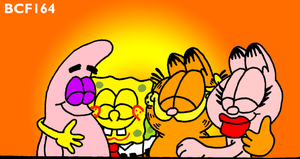 Garfield, Arlene, Spongebob and Patrick hug by BobClampettFan164