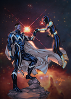 Blue Marvel and Nova by EagleGosselin