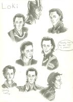 Loki Sketchdump by ElvenWarrior14