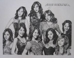 SNSD All 9 Group Drawing by HamstermeetsMudkip