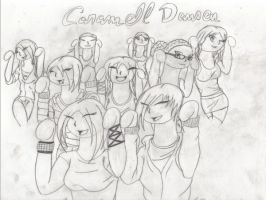 Caramell Dansen Group Chibi by Gothie666