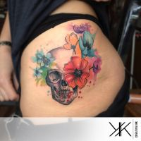 Watercolor Skull n Flowers by koraykaragozler