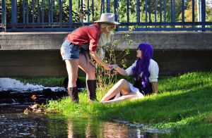 AppleJack and Rarity - By the stream by aggestardust