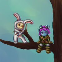 Tristana and Teemo by pompomball