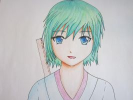 random girl with green hair ^_^ by RoliArt