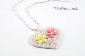 Heart shape floral necklace by virahandmade