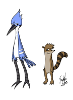 mordecai and rigby by geokon712