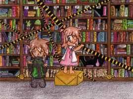 Library-trouble - Blue x Green by Tekuu