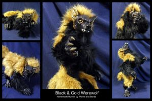 Black and Gold Werewolf by WormsandBones