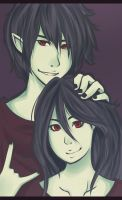 Marceline and Marshall Lee by virinn
