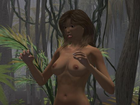 Nude Jungle Explorer Babe looks on in Horror! by Qsvgitguy