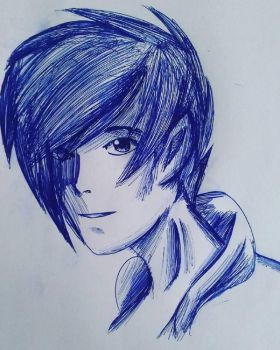 Blue ballpoint pen drawing by shimmerkitty
