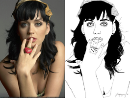 Katy Perry-traced on Photoshop CS5 by speechlesskid