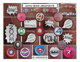 Superhero-comic inspired ornaments - close ups by maskedzone