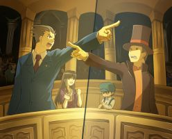 Prof.Layton VS Phoenix Wright by Newpemtd