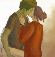 Beast boy and Raven epic smooch. by illustrationrookie