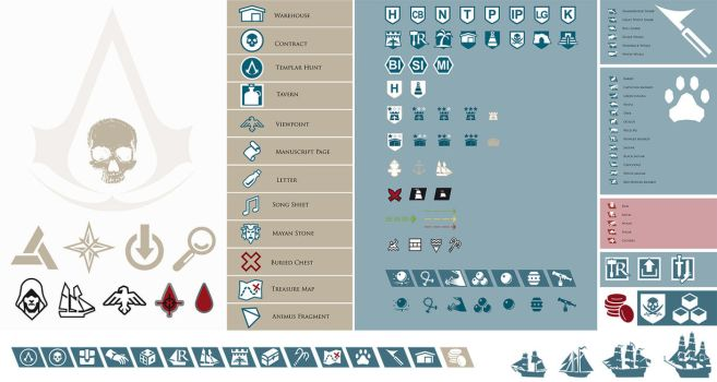 Assassin's Creed 4 Black Flag - InGame Icons- by ceekaysickART