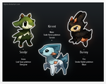 Fakemon Starters by Kipine