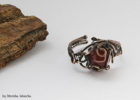 Ring- wire wrapped with agate by mea00