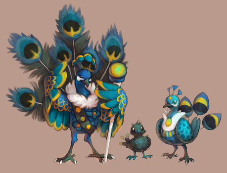 Fakemon: royal peafowl fairy/flying by mercurybird