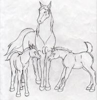 LaceworkStables mare and foals sketch by rempage