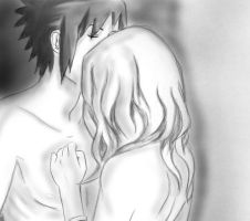 Sasusaku kiss on the forhead by LucyMishima123