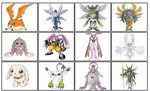Digivolutions of the Celestial Digimon by ChipmunkRaccoonOz