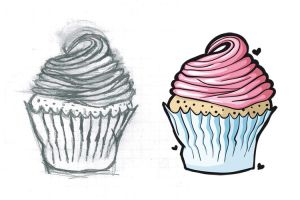 cupcake - sketch and vector by rainbow-art