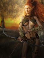 Redhead Elf Archer Girl, Fantasy Art by shibashake
