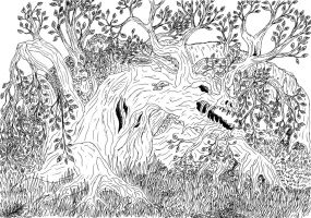 Lineart: tree dragon by kxeron
