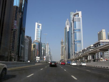 Dubai Skylines on main highway by Aruthizar