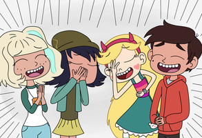 Star, Marco, Jackie, and Janna are big laughter by Dark-Machbot