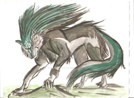 Wolf Link water colour by SubwaymasterMegumi