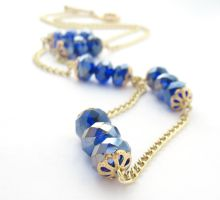 Chain Necklace With Cobalt Blue Beads by MoonlightCraft