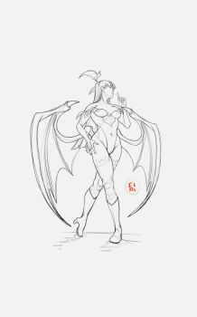 Morrigan - Ssssh! - Sketch by CiPi82