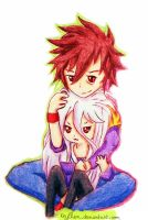 No game no life - Sora and Shiro by Keylhen