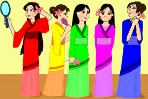 Kids in Asian Robe Thingies by JelloArms