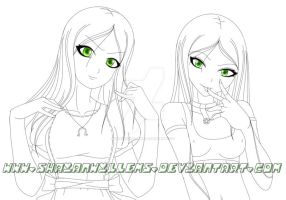 Alice and X-23 Line art. by ShaianWillems