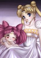 Queen Serenity and Small Lady by BlueEveningstar