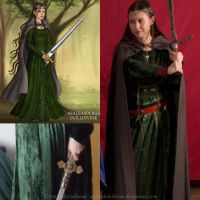 Elven cosplay - Green velvet dress III by ArwendeLuhtiene