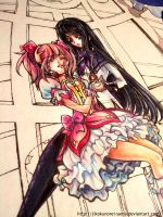 Copic Marker Madoka and Homura WIP by Ruri-dere