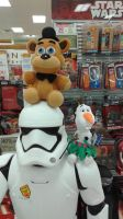 Freddy and Olaf on top of a storm trooper by RainbowStriked