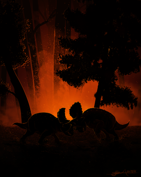 Triceratops horridus dancing in the firelight by TheWoodParable