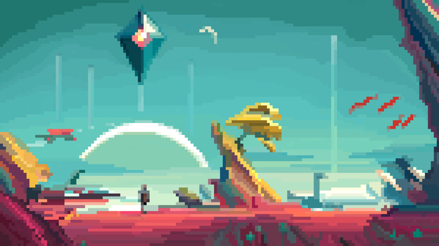 No man's sky pixel art by AndreaTarricone