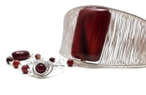 Red Gemstone Cuff Slave Bracelet Ring Attached by BrainofJen