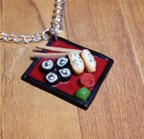 Red Sushi Plate Necklace by ninja2of8