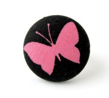 Large black ring - pink butterfly cute adjustable by KooKooCraft